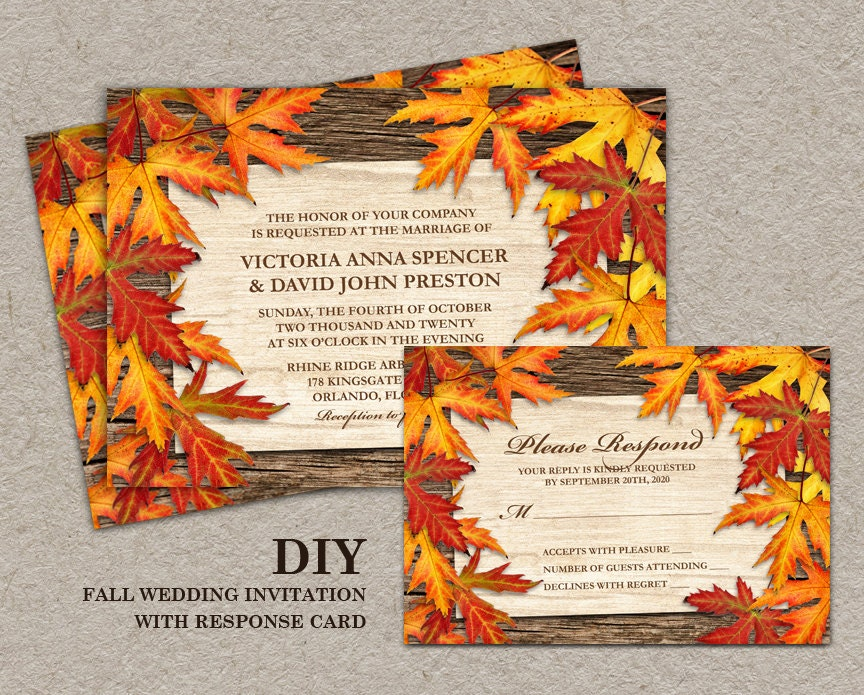 diy printable fall wedding invitations and rsvp cards with