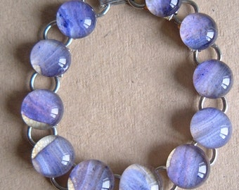 Vintage silvertone and lilac glass link bracelet