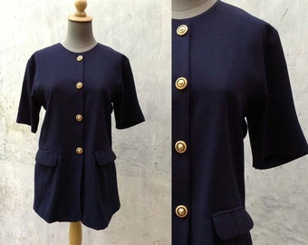 1980s vintage  blouse top shirt in navy blue with pockets short sleeve Size Medium to Large