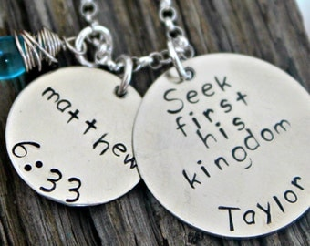 Bible Verse Necklace, Matthew 6 33, Hand Stamped Scripture Jewelry