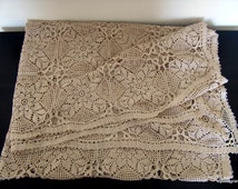 Crochet Curtain or Crochet Tablecloth, Hand Crocheted Rectangle Table Cloth, Ecru Crochet Lace Curtain For Bedroom, Unique Crochet For Sale