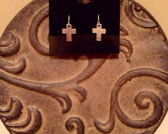 Small silver cross earrings