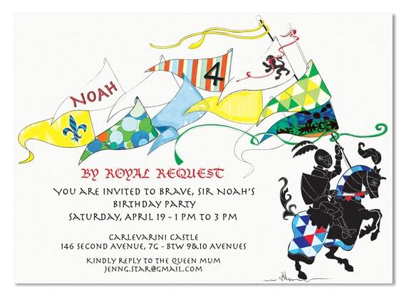 Digital Birthday Boy Colorful Knight Invitation