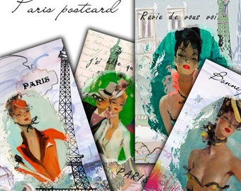 Paris Cards-2 INSTANT DOWNLOAD printable sheets Scrapbooking greeting cards