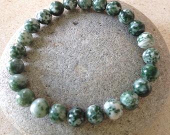 Natural Green Tree Agate.Comforting Stone.  Beaded Gemstone Bracelet. Men or Women. Simple Stretch Bracelet.