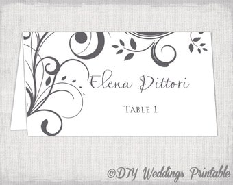"Name card template Charcoal gray ""Scroll"" printable place cards DIY wedding gray place card templates YOU EDIT instant download"