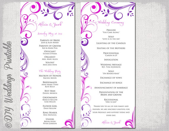 wedding program template purple fuchsia pink. Black Bedroom Furniture Sets. Home Design Ideas