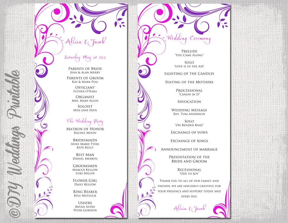 Wedding Program Template Purple & Fuchsia Pink