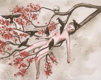 Awakening_original indian ink drawing by itzi hdo