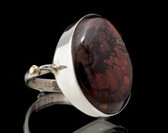Agate & 925 Sterling Silver Statement Ring Size US 9 1/2 (UK, Aus: S 1/2) #017