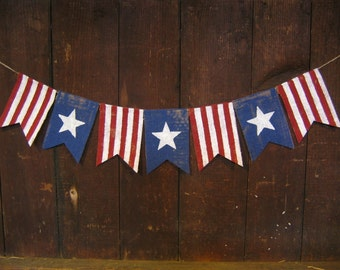 American Flag Banner, Patriotic Banner, Patriotic Bunting, 4th of July Banner, Patriotic Decor, Burlap Bunting Garland, 4th of July Decor