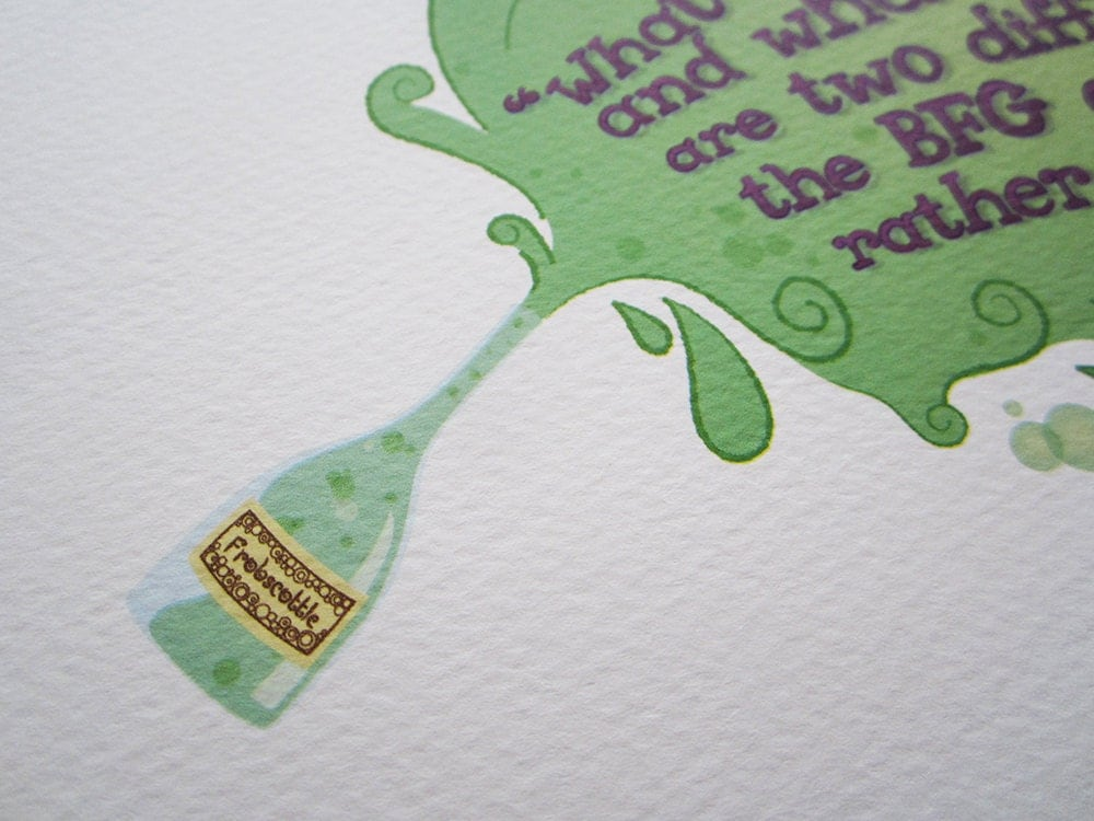 Quotes From The Bfg: SALE Literary Quote Print The BFG By Roald Dahl By Nafftastic