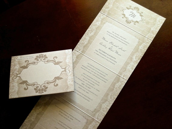 Vintage lace wedding invitation send and seal on metallic pearl shimmer stock. Perforated tear off reply card and color sticker seal.