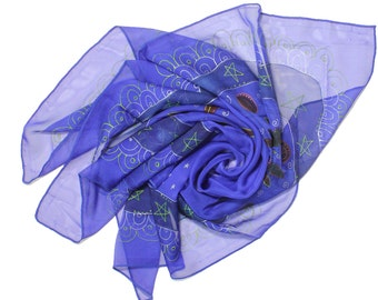 Royal Blue Hand Painted Scarf - Silk Scarf with Stars - Ready to Ship