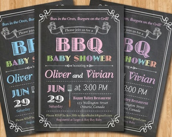BBQ Baby Shower Invitation. Baby-Q Shower Invitation. Chalkboard Co-ed Baby Shower Invite. Babyque Bbq Boy or Gril. Printable digital DIY.