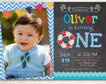 Pool Party Birthday Invitation. Swimming Birthday Invite. Girl or Boy. First Birthday. Chalkboard. Chevron with photo. Printable Digital DIY