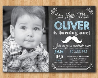Little Man Mustache Birthday Invitation Chalkboard. Baby Boy Invite. Blue. Custom Photo. First 1st 2nd 3rd any age Printable digital DIY