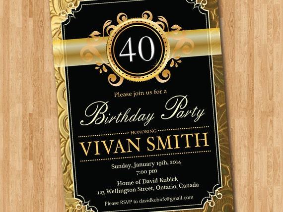 Exceptionnel invito compleanno 40 . Glitter oro nero lavagna. Compleanno FO82
