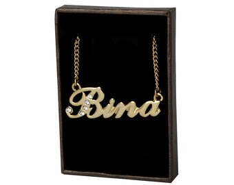 Name Necklace Bina - Gold Plated 18ct Personalised Necklace with Swarovski Crystals
