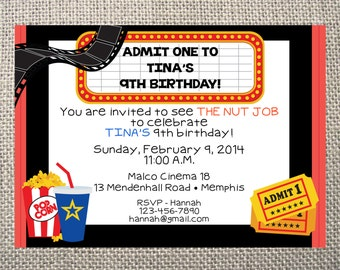 PRINTED or DIGITAL Movie Theater Birthday Invitations 5x7 Customized Movie Theatre Design 0.82 each