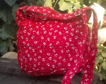 Red and white floral corduroy bag