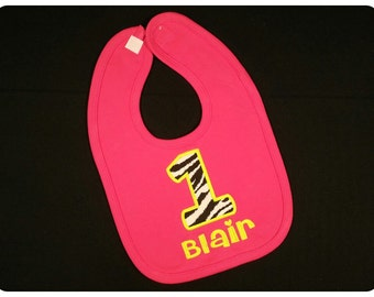 Birthday Bib Pink Zebra with Embroidered Name