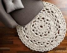 Round giant crocheted doily rug, handmade crochet rug, retro vintage mid century modern
