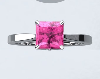 Pink Sapphire Engagement Ring Bloomed Love Inspired Princess Cut VVS Pink Sapphire 1.25ct 14kt White Gold Engagement Ring Wedding Ring