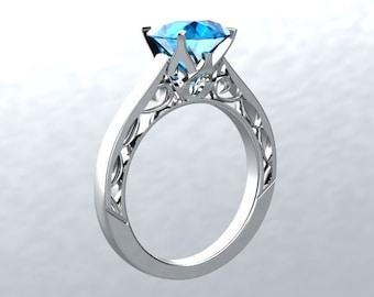 VICTORIAN LOVE 14kt White Gold 1.40ct Round Blue Topaz Sollitaire Engagement Ring Wedding Ring Anniversary Ring Birthstone