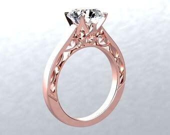 Moissanite Engagement Ring 1ct Forever One Moissanite Solitaire Wedding Ring Victorian Love 14k rose gold ring Pristine Custom Rings