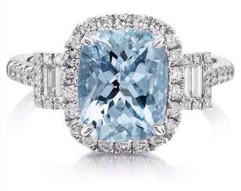 Aquamarine Engagement Ring 2.76 Long Cushion .70ct Natural Diamonds Unique Halo 3 Stone Anniversary Ring White Gold pristine Custom Rings