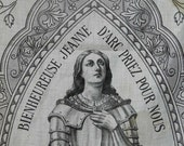 Joan of Arc Religious Banner. French Antique c.1890. Church Banner. Religious Art. Wall Hanging. French Decor. Home Decor. Shabby Chic.