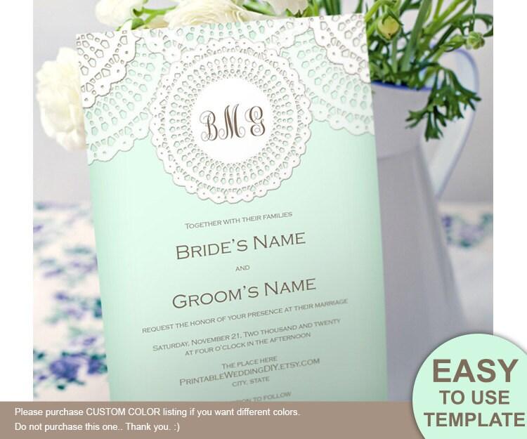 Lace Doily Rustic Printable Invitation Template