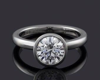 Diamond Solitaire Bezet Style Engagement Ring