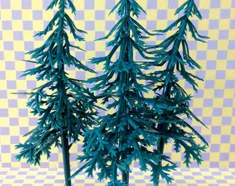 Spruce Tree Cupcake Toppers, 12 Plastic Evergreen Fir Cake Picks, Miniature Pine Trees, Let's Explore Camping Decor, Tree Craft Supply