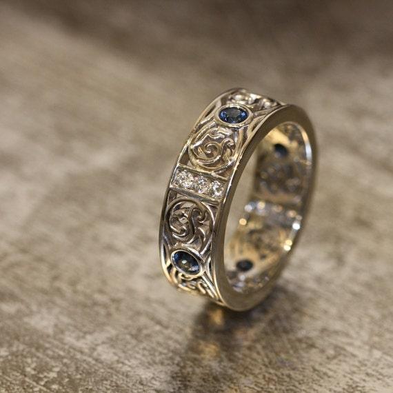 14k White Gold Celtic Wedding Band Diamond And Sapphire