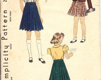 Simplicity 2994 Sewing Pattern  1930's Girl's Blouse, Skirt, and Jacket   ID558