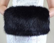 Black Faux Fur Hand Muff, Black Wedding Hand Warmer, HandMuff For Wedding Stole and  Faux Fur Wrap, Bridal Stole HM108-BLK