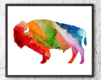 Watercolor Art Print American Buffalo Painting - Silhouette Wall Art - Watercolor Animal Painting - 233