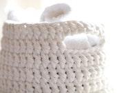 Crochet Basket, Knitted Basket, White Basket. Knitted Bowl, Yarn Basket, Cotton Basket