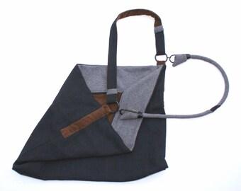 Crossbody Bag; Blue Messenger Bag, Canvas Satchel with Geeky Details - Corduroy Over Shoulder Bag