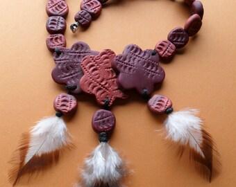 Brown Flowers Necklace - Unique Handmade Necklace