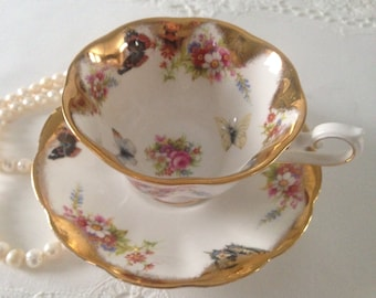 Beautiful Butterfly Royal Albert Gold Tea Cup and Saucer