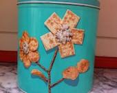Vintage Turquoise/Aqua  Blue Magic Krispy Kan Cracker Can