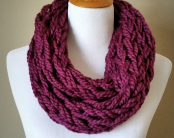 Plum Knit Infinity Scarf
