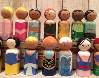 Complete Set of Disney Inspired Wooden Peg Princess
