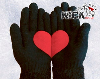 Heart Gloves, with Red Fleece Heart. Offer those gloves & give a handful of heart to your loved ones! Check our discount in the description.