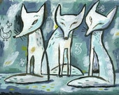 Three white foxes. A limited edition giclee print.