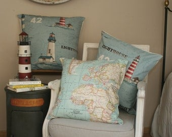 Set 2 cushion cover, World map and Lighthouses, Blue cushions,  Lighthouses pad, Throw Pillow, Toss Pillow, nautical decor, bed decor, home.