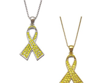 Crystal Yellow Ribbon Troops Soldier Military Support Parkinson's Disease Bladder Bone Cancer Awareness Charm Necklace Silver Tone Gold Tone